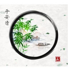 Green bamboo trees island with mountains and vector