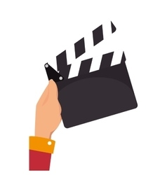 hand holding a clapboard vector image