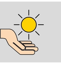 Hands care sun warming gobal design vector