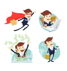 Happy businessman throwing moneyflying eating vector