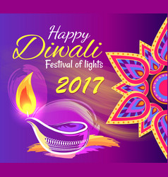 Happy diwali festival of lights 2017 poster vector