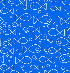 Happy fish swimming vector