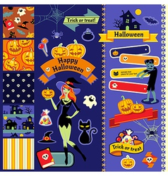 Happy Halloween scrapbook witch vector image