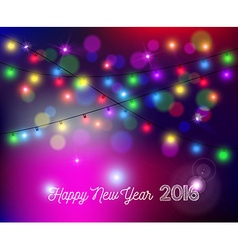 Happy new year 2016 bokeh lights blur holiday card vector