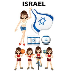 Israel flag and woman athlete vector image