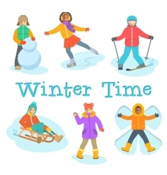 Kids winter outdoor games and activities cartoon vector