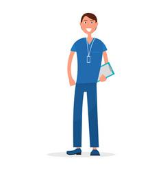 man doctor in blue uniform with prescription list vector image