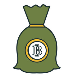 Money bag with bitcoin symbol vector
