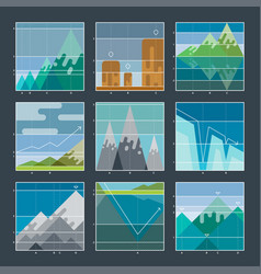 Mountain infographic diagrams and charts icons vector
