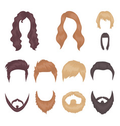 mustache and beard hairstyles cartoon icons in vector image