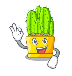 okay cereus cactus bouquet on character cartoon vector image