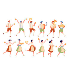 oktoberfest characters autumn traditional beer vector image