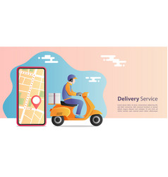 Online express delivery concept delivery man vector