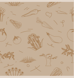pattern seamless set vegetable and flower vector image