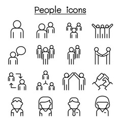 People icon set in thin line style vector