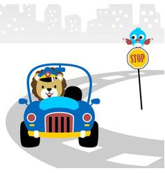 Police car cartoon with funny driver vector