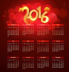 red golden 2016 calender vector image
