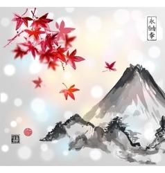 Red japanese maple tree and fujiyama mountain vector