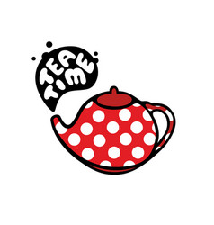 Red teapot with dots pattern vector