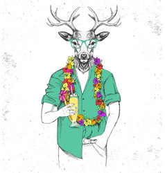 retro hipster animal deer with tropic cocktail vector image