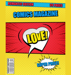 romantic comics magazine template vector image