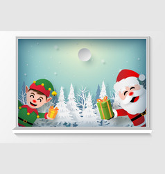 santa claus and elf at window to give a gift vector image