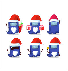 Santa claus emoticons with ghost among us blue vector