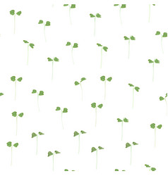 seamless background young leaves seedlings vector image