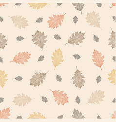 Seamless pattern of leaves of northern red oak vector