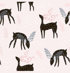Seamless pattern with deers floral elements vector