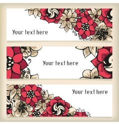 Set horizontal banners with floral doodling vector