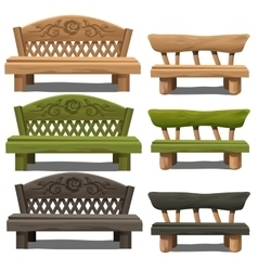 Set of wooden bench on white background vector image vector image