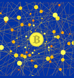 set of yellow bitcoin icons vector image