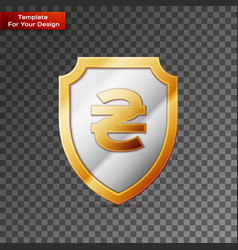 shield with hryvnia sign on transparent background vector image