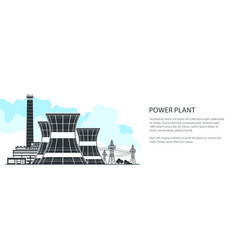 silhouette nuclear power plant banner vector image