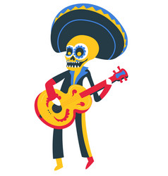 skeleton playing guitar day dead mexican vector image