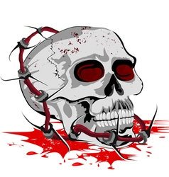 Skull with steel barbed wire on a white vector