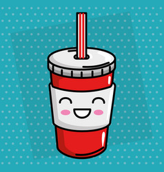 soda drink kawaii character vector image
