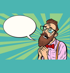 stylish bearded hipster with glasses crying and vector image