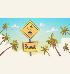 Summer tropical vacation palm treen over blue sky vector