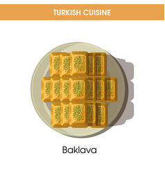 Sweet delicious baklava on plate from turkish vector