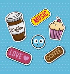 Sweet stickers pop art vector