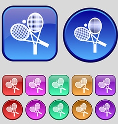 tennis icon sign A set of twelve vintage buttons vector image