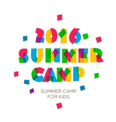 Themed Summer Camp 2016 poster in flat style vector image vector image
