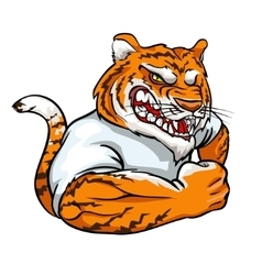 Tiger mascot team label design vector image
