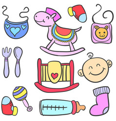 Toy various style baby doodles vector