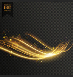 Transparent golden light effect with glitter vector