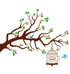 Tree Branch with bird cage and two birds vector