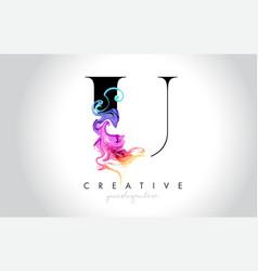 U vibrant creative leter logo design vector
