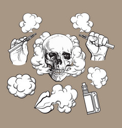 Vaping related elements symbols - smoking skull vector